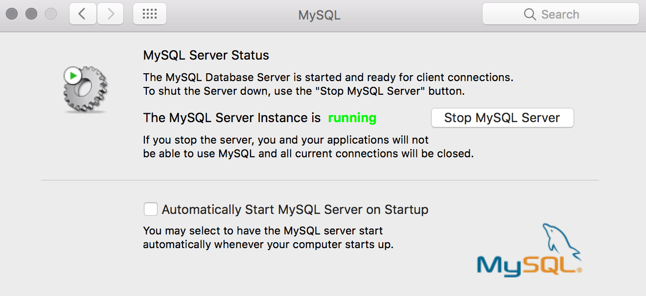 Start mysql database on mac OS