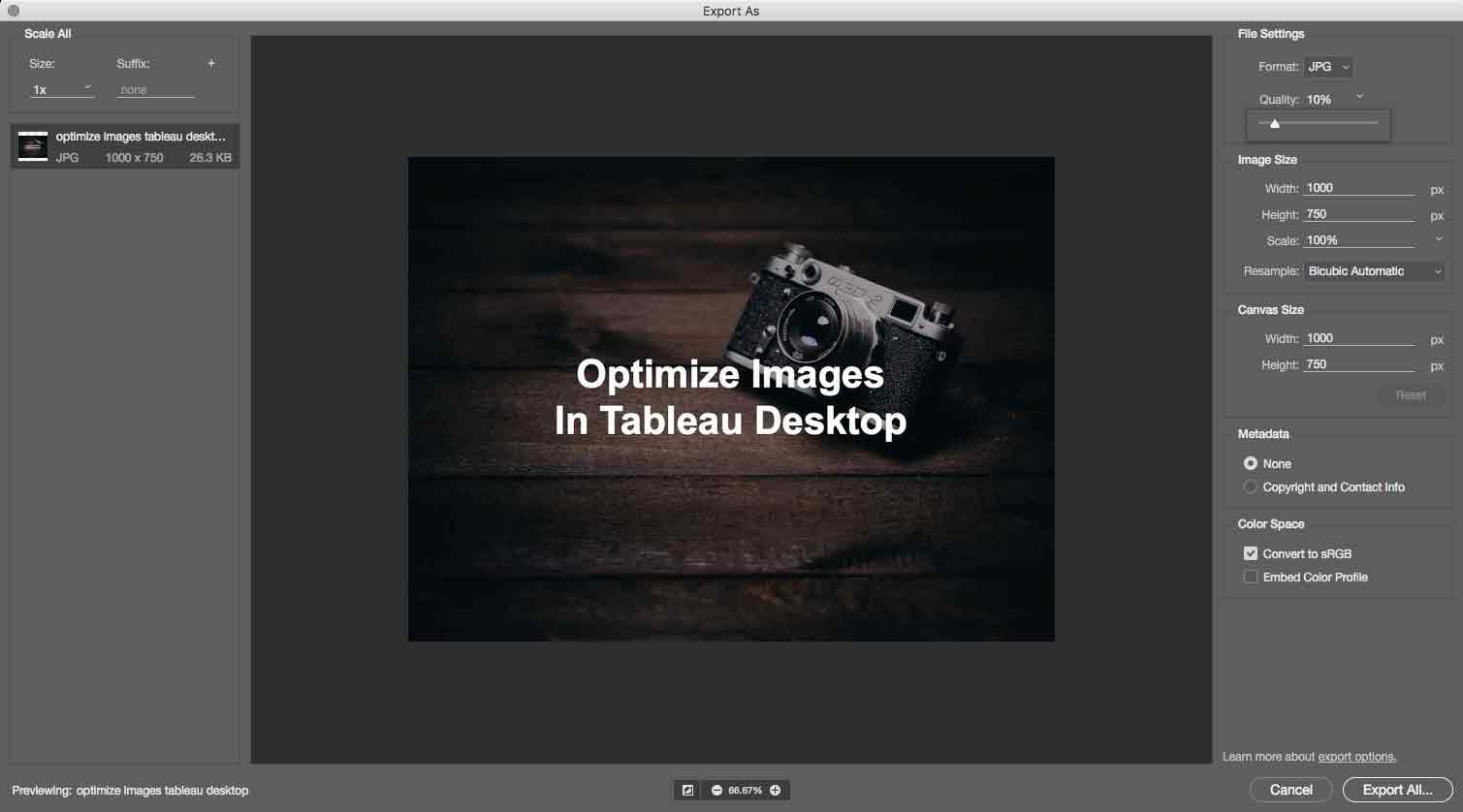 Compress photos to increase your speed in photoshop