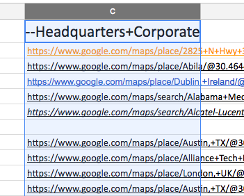 screenshot of URLs in column C on google sheet for demonstration to split to column