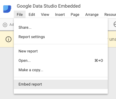 Embed google data studio in two clicks, step 1