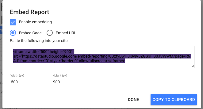 Embed google data studio in two clicks, step 2