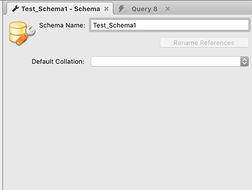 schema name settings for test schema on mysql
