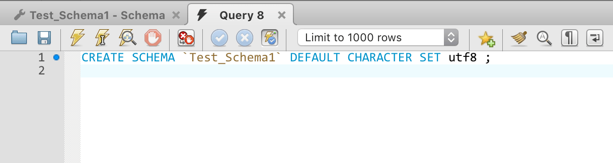 creating a schema in mysql query in SQL