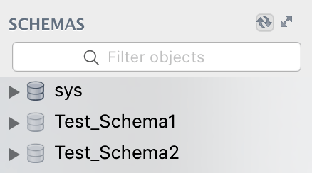 schema refresh button on mysql Mac OS